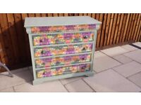 Chest of drawers with decoupage