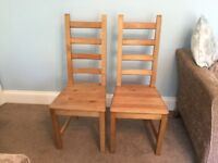 Pair of IKEA Kaustby Solid Pine Ladderback Dining Room Chairs