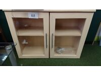 Pair of wall mountable unit with glass door shelving