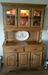 Vintage Custom Made Solid Oak Hutch and Buffet (CAMROSE)