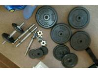 Weights, dumbbells,bar bell and belt