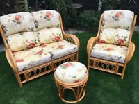 Cane Furniture Set , 2 seater , 1 seater and stool