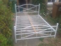 WHITE METAL STURDY DOUBLE BED FRAME ,COULD DELIVER