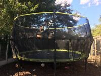 10ft x 14 ft REBO Oval Base Trampoline with halo