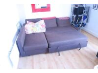 Brown sofa bed with storage, great condition 12 months old