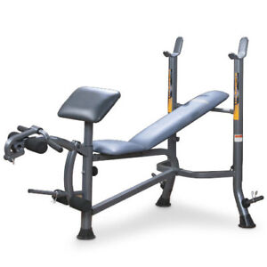 Weight Bench + 255 lbs of weights + 6ft bar + curl bar +Dumbbell