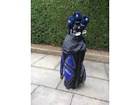 Wilson caddy and set of left handed golf clubs