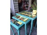 Upcycled Penguin Postcard Tables