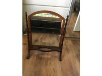 Antique swivel table mirror mahogany with inlay detail