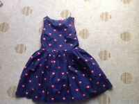 Navy girls dress with red hearts age 8-9 years