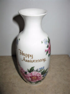 "HAND DECORATED ON PEI ""HAPPY ANNIVERSARY"" VASE"
