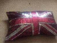 Girls sparkly Union Jack pillow