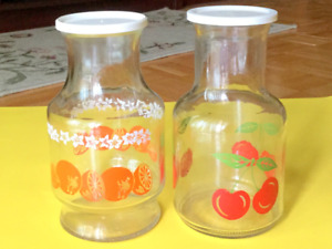 Vintage Glass Kitchen Storage Jars with lids Containers