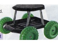 Garden Seat on Wheels save you kneeling and store tools underneath near to hand