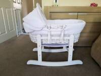 White Moses Basket & Rocking Stand