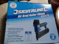 Silverline Air Brad Nailer 50mm Brand New in Box Plus Galvanised Shank Nails 5000 pack
