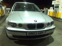 BMW 3 Series 1.8 316ti SE Compact 3dr 2003 Hatchback 101,000 miles Manual 1796cc Petrol One Year MOT