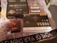 Gaming parts( Am3 mobo, fx 4300 CPU, HyperX 8gb ram ddr3 white, corsair 550 silent psu