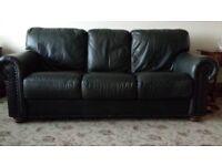 Incanto Divani, Green Leather 3 Seater Sofa.