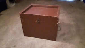 OLD FOLK ART WOODEN TRUNK /rope handle side by side (only $50)