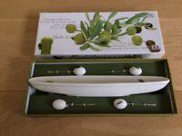 Mediterranean Olive Boat and olive cocktail sticks
