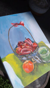 a still-life acrylic painting by a talented young artist