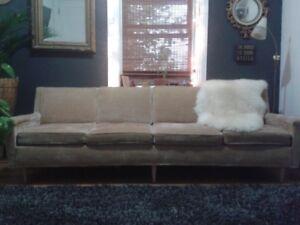 SOLD PPU - Vintage/ Mid Century Gold Velveteen Sofa