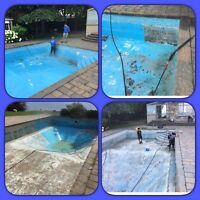 Striping paint from pool and repairing cement