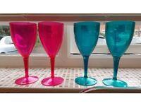 4 x Plastic Wine Glasses[Garden/ Picnicware]