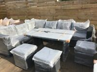 Yakoe Papaver 9 seater Grey rattan L shaped sofa / dining set - delivery available