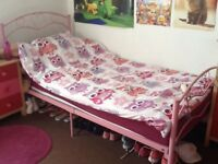 Single metal pink heart bed frame (no mattress) (Need gone ASAP due to moving)