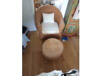 Rattan Armchair with matching footstool/coffee table