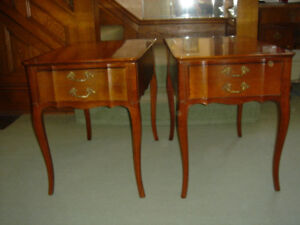PAIR FRENCH PROVINCIAL END TABLES VINTAGE VERY GOOD COND