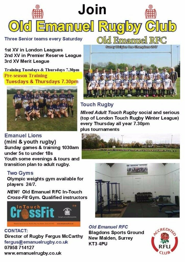 Rugby players wanted by club in SW London, 3 teams all welcome, New coach, successful club.