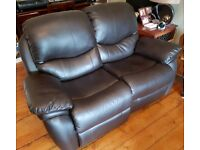 2 seater manual recliner leather sofa