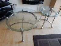 TWO GLASS TABLES IMPORTED FROM THE USA