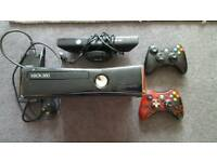 Xbox 360 S slim console with Kinect x2 controllers and 16 games