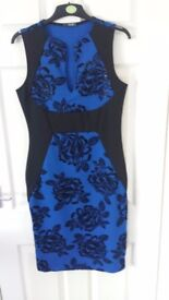 Royal blue and black bodycon dress