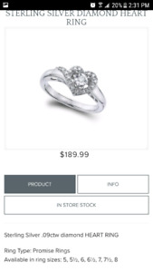 Sterling silver diamond ring from charm