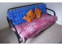 Metal framed futon sofa bed with mattress cushion
