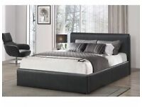 DOUBLE LEATHER BED AND MATTRESS & STORAGE BRAND NEW FAST FREE DELIVERY
