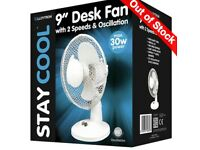 'STAY COOL' 9'' (23cm) 30w Desk Fan - White