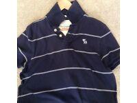 Men's Navy & White Stripe Abercrombie & Fitch Polo T-Shirt - Size Large