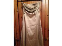 Warehouse Cocktail Dress Size 10 golden colour jewel/bead embellished