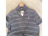 Men's Grey & White Stripe Abercrombie & Fitch Polo T-Shirt - Size Large