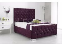 Diamond Chenille Fabric Upholstered Bed with mattress and chest of drawers & rug for sale