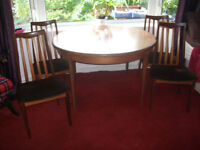G Plan Fresco 1960s/70s Extending Dining Table & 5 Chairs