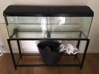 4ft fish tank with stand gravel and air pump