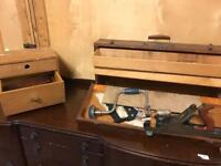 Old woodworking tools and wooden tool box