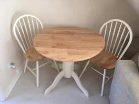 CREAM DROP LEAF SMALL ROUND DINING TABLE & CHAIRS